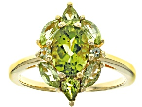 Pre-Owned Green peridot 18k gold over silver ring 1.95ctw