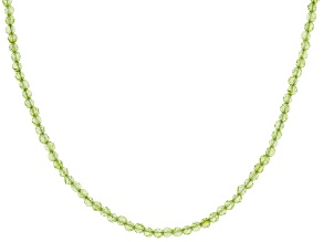 Pre-Owned Green Peridot Bead Rhodium Over Silver Necklace  30.00ctw