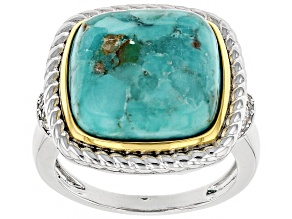 Pre-Owned Blue turquoise rhodium over silver and 14k gold over silver two tone ring. .08ctw
