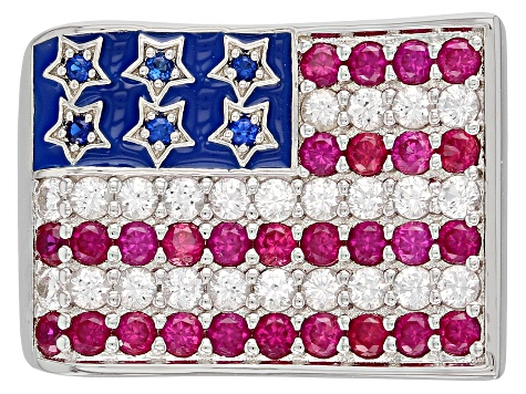 Pre-Owned Lab Created Multi-Color Multi-Gemstone Rhodium Over Sterling Silver American Flag Ring 2.1