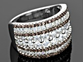 Pre-Owned Brown And White Cubic Zirconia Rhodium Over Sterling Silver Ring 4.32ctw