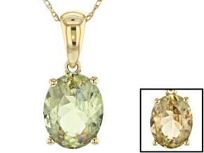 Pre-Owned Green Turkish Diaspore 14k Yellow Gold Pendant With Chain 1.58ct