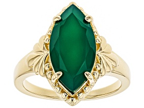 Pre-Owned Green onyx 18k yellow gold over silver ring