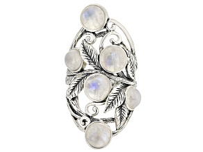 Pre-Owned White rainbow moonstone rhodium over silver ring