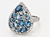 Pre-Owned London Blue Topaz Rhodium Over Silver Ring 4.42ctw