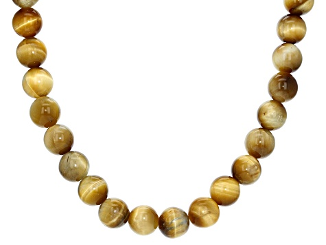 Pre-Owned Brown golden tiger's eye bead sterling silver necklace