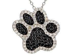 Pre-Owned Black Spinel Rhodium Over Sterling Silver Paw Pendant With Chain 1.16ctw