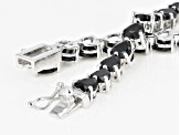 Pre-Owned Black Spinel Rhodium Over Sterling Silver Tennis Bracelet 17.60ctw
