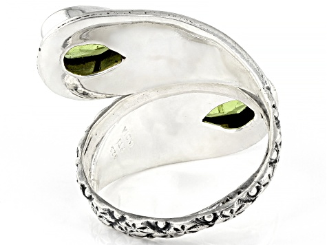 Pre-Owned Green Peridot Sterling Silver Ring 2.50ctw