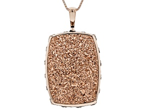 Pre-Owned Rose Color Drusy Quartz 18k Rose Gold Over Sterling Silver Pendant with Chain