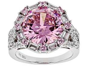 Pre-Owned Pink And White Cubic Zirconia Rhodium Over Sterling Silver Ring 13.50CTW