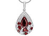 Pre-Owned Red And White Cubic Zirconia Platineve Pendant With Chain 11.76ctw