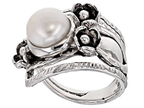 Pre-Owned Cultured Freshwater Pearl Rhodium Over Sterling Silver Ring