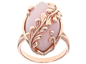 Pre-Owned Pink Peruvian opal 18k rose gold over silver ring