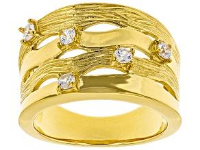 Pre-Owned Moda Al Massimo® White Cubic Zirconia 18K Yellow Gold Over Bronze Ring