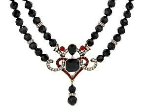 Pre-Owned Multicolor Crystal Black Bead Antiqued Gold Tone Statement Necklace
