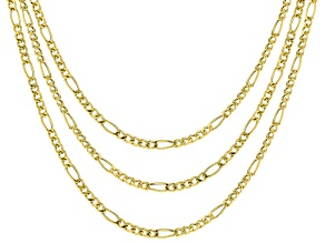 Pre-Owned 18K Yellow Gold Over Sterling Silver Designer Figaro Chain Necklace Set 18, 20, & 24 Inch