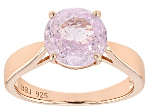 Pre-Owned Pink kunzite 18k rose gold over silver solitaire ring 3.02ct