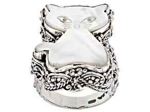 Pre-Owned White Mother Of Pearl Cat Silver Ring