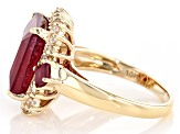 Pre-Owned Red Ruby 10k Yellow Gold Ring 8.16ctw