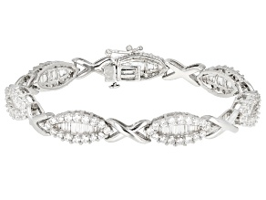 Pre-Owned White Cubic Zirconia Rhodium Over Sterling Silver Bracelet 11.82CTW