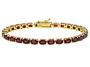 Pre-Owned Red garnet 18k yellow gold over silver bracelet 15.95ctw