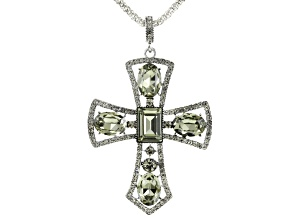 Pre-Owned Gray Crystal Silver Tone Cross Pendant With Chain