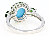 Pre-Owned Blue turquoise rhodium over silver ring .80ctw