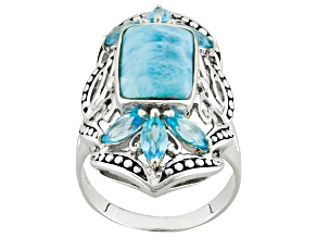 Pre-Owned Blue Larimar Sterling Silver Ring 1.50ctw