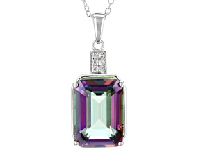Pre-Owned Multi-color quartz sterling silver pendant with chain 6.21ctw