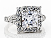 Pre-Owned White Cubic Zirconia Rhodium Over Sterling Silver Center Design Ring 6.42ctw
