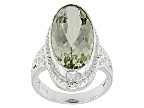 Pre-Owned Green Prasiolite Rhodium Over Sterling Silver Ring 9.03ct