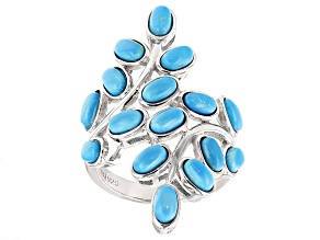 Pre-Owned Blue turquoise color magnesite sterling silver ring