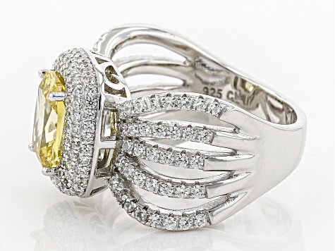 Pre-Owned yellow and white cubic zirconia rhodium over sterling silver ring 5.06ctw