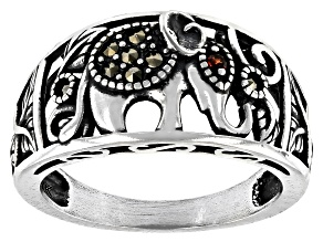 Pre-Owned Red Garnet Sterling Silver Elephant Ring .01ct