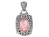 Pre-Owned Pink Morganite Color Mother Of Pearl Triplet Silver Pendant