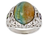 Pre-Owned Blue Indonesian Opal in Matrix Rhodium Over Silver Ring .56ctw
