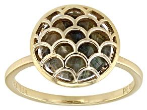 Pre-Owned Grey Labradorite 10k Gold Ring