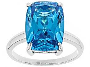 Pre-Owned Blue Cubic Zirconia Rhodium Over Sterling Silver Ring 13.95ctw