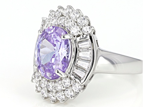 Pre-Owned Purple And White Cubic Zirconia Rhodium Over Sterling Silver Ring 8.70CTW