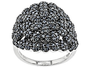Pre-Owned Black spinel rhodium over silver ring 1.55ctw
