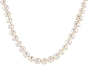 Pre-Owned White Cultured Freshwater Pearl Rhodium Over Sterling Silver 18 Inch Strand Necklace