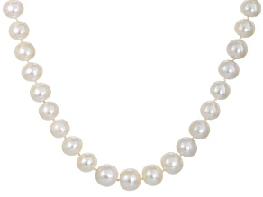 Pre-Owned White Cultured Freshwater Pearl Sterling Silver Strand Necklace 18 inch