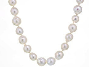 Pre-Owned White Cultured Freshwater Pearl Sterling Silver Strand Necklace