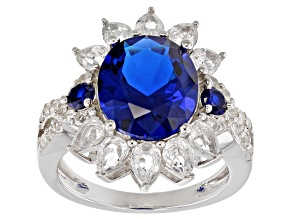 Pre-Owned Blue lab spinel rhodium over sterling silver ring 6.22ctw