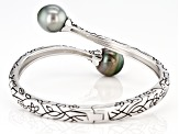 Pre-Owned 11mm Cultured Tahitian Pearl, Rhodium Over Sterling Silver Bangle Bracelet