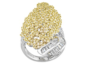 Pre-Owned White Cubic Zirconia 18k Yellow And Sterling Silver Ring 5.64ctw