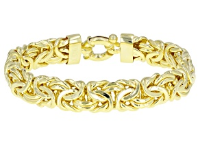 Pre-Owned 18k Yellow Gold Over Sterling Silver Byzantine Bracelet 7 in