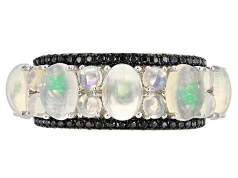 Pre-Owned Multi Color Ethiopian Opal Rhodium Over Sterling Silver Ring 3.50ctw