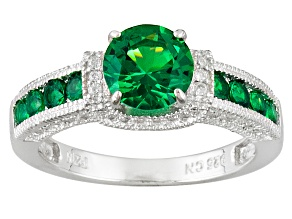 Pre-Owned Green And White Cubic Zirconia Rhodium Over Sterliing Silver Ring 2.00ctw